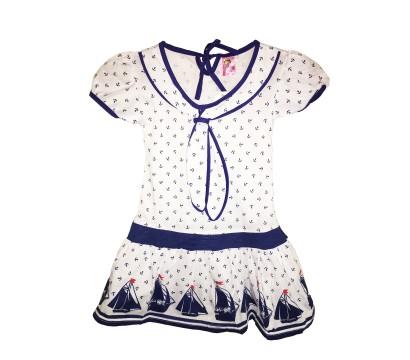 """Детское платье-морячка """"Белое, парусник на юбке"""""""
